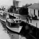 Part of the Lauritzen Transportation Co. fleet at its Antioch wharf, about where Riverview Lodge is located today. At one time the fleet numbered about eight boats.